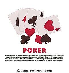 サンプル, 旗, カード, テキスト, ポーカー, プレーしなさい, 昇進