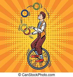 サーカス, ベクトル, unicycle, 曲芸師, ポップアート