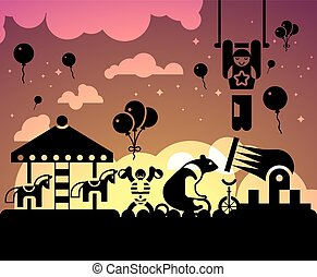 サーカス, 背景, 夜