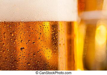 サービスされた, ビール, カウンター, バー, 水差し