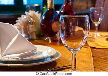 サービスされた, レストラン, テーブル
