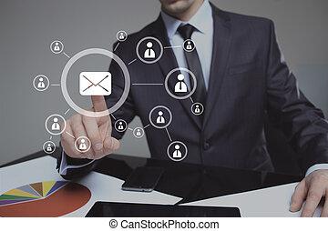 サービス, かちりと鳴ること, ビジネスマン, メール, icon., 電子メール