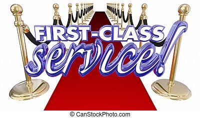 サービス, カーペット, イラスト, 待遇, 言葉, 3d, クラス, 赤, 最初に