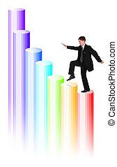 サービス, コラージュ, はしご, bussinessman, の上, 上昇