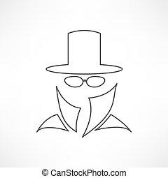 サービス, スパイ, suit., アイコン, 人