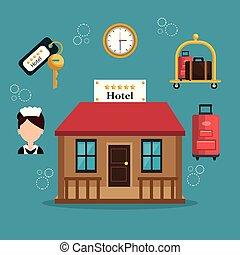 サービス, ホテル, セット, アイコン