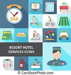 サービス, 平ら, ホテル, セット, アイコン