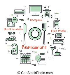 サービス, -, 広場, ベクトル, レストラン, 概念, ホテル