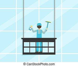 サービス, 清掃, 窓, 摩擦, イラスト, 専門家, ファサド, 建物, ユニフォーム, 平ら, ベクトル, 労働者, 会社