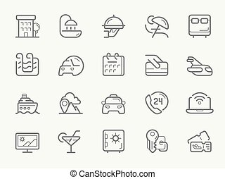 サービス, 線, ホテル, icons.