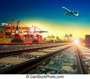 サービス, 貨物, 使用, 交通機関, の上, ビジネス, 飛行, 出荷, 港, 飛行機, エクスポート, 貨物,...