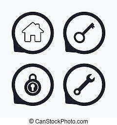 サービス, 道具, シンボル。, レンチ, キー, 家, icon.