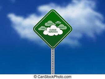 サービス, 雲, 道 印