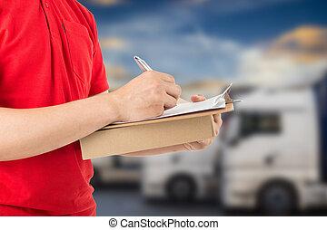 サービス, package., 出産, 顧客, 受け取ること