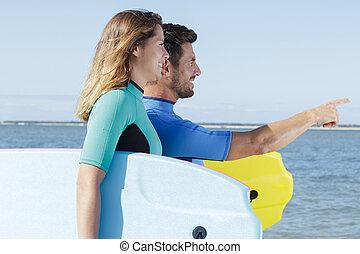 サーファー, 浜, bodyboards, 動くこと, 恋人