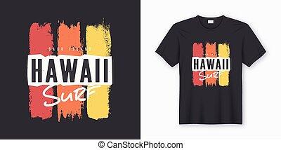 サーフィンをしなさい, グラフィック, ポスター, hawaii., ティー, 流行, デザイン, print.
