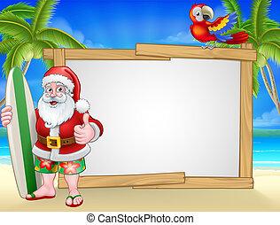 サーフィンをしなさい, サンタクロース, 印, 背景, 浜, クリスマス