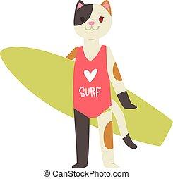 サーフィンをしなさい, サーフィン, サーフボード, 特徴, ねこ, キティ, 隔離された, イラスト, 若い, ベクトル, スポーツマン, 動物, wakeboard, 背景, 白, サーファー, 女の子, 漫画, animalistic