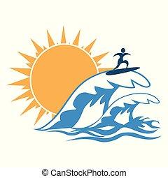 サーフィンをしなさい, 太陽, 波, 海, ロゴ