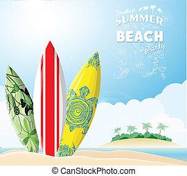 サーフィンをしなさい, 浜, 板, 海