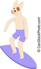 サーフィンをしなさい, 男の子, animalistic, セット, 背景, wakeboard, 犬, 特徴, 若い, スポーツマン, 隔離された, サーファー, サーフィン, ベクトル, イラスト, 動物, 白, doggy, 漫画, サーフボード