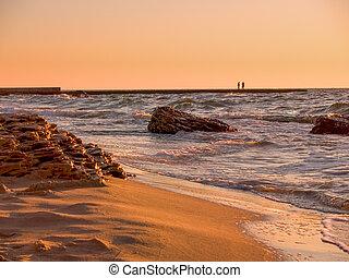 サーフィンをしなさい, 金, 光線, light., 黒い海, 風景, 光景