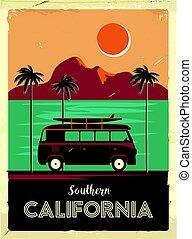 サーフィン, グランジ, 型, 金属, 木, 印, van., やし, デザイン, 広告, 作られた, 古い, poster., california., レトロ