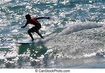サーフィン, スポーツ, 海, -, 波