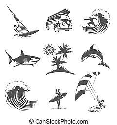 サーフィン, セット, アイコン
