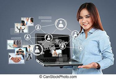 サーフィン, ネットワーク, 女性実業家, ラップトップ, 事実上, pc, 接続, 背景, 社会, 保有物