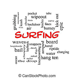 サーフィン, 単語, 雲, 概念, 中に, 赤, 帽子