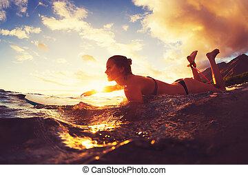 サーフィン, 日没