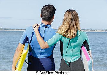 サーフィン, 浜, 前に, 愛, 恋人
