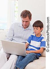 サーフィン, 父, インターネット, 一緒に, 息子