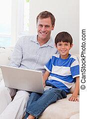 サーフィン, 父, 一緒に, 息子, インターネット, 微笑