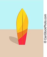 サーフボード, カラフルである, 暑い, イラスト, 砂, ベクトル