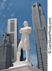サー, ラッフルの彫像, シンガポール