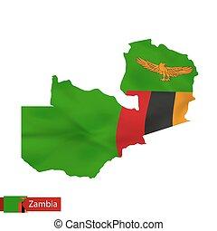 ザンビア, 地図, ∥で∥, 揺れている旗, の, country.