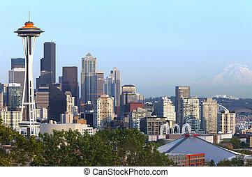 シアトルのスカイライン, そして, mt 。, rainier.