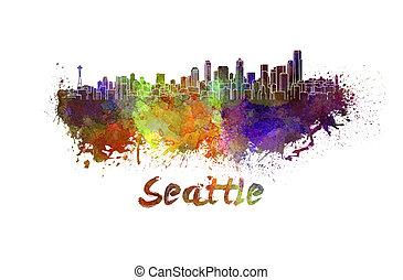 シアトルのスカイライン, 中に, 水彩画