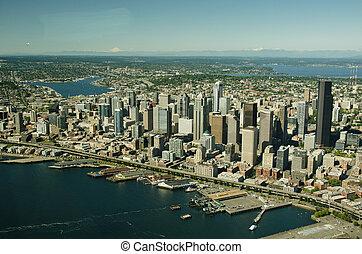 シアトル, そして, 湖 連合, 上に, elliott 湾, -, 航空写真, 見通し