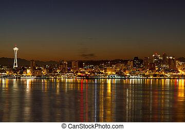 シアトル, ダウンタウンに, スカイライン, 反射, ∥において∥, 夜明け