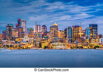 シアトル, ワシントン, アメリカ, スカイライン