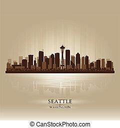 シアトル, ワシントン, スカイライン, 都市, シルエット