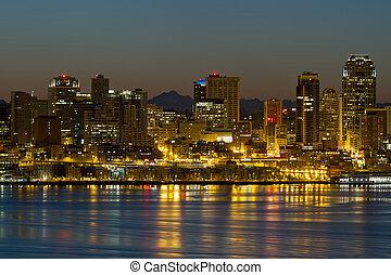 シアトル, ワシントン, 水辺地帯, スカイライン, ∥において∥, 夜明け