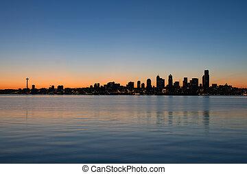 シアトル, ワシントン, 水辺地帯, スカイライン, ∥において∥, 日の出, パノラマ
