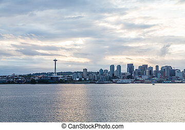 シアトル, 上に, 曇り, 夜明け