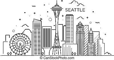シアトル, 旗, art., 線, style., 都市, 最新流行である, 平ら
