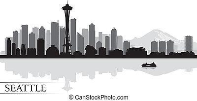 シアトル, 都市 スカイライン, シルエット, 背景