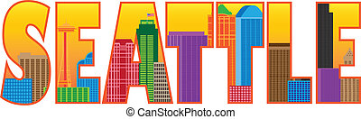 シアトル, 都市 スカイライン, テキスト, アウトライン, 色, イラスト